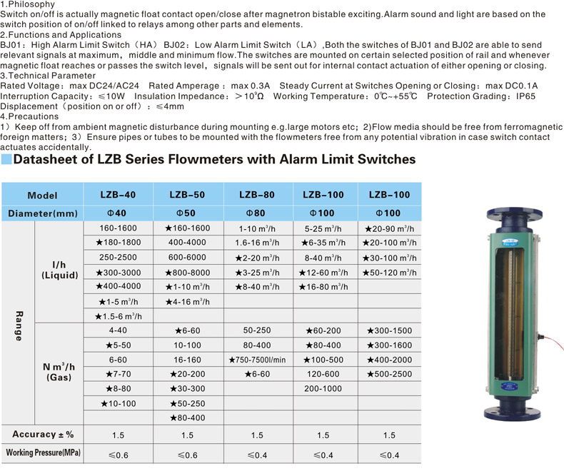 LZB Flowmeter with limit switches